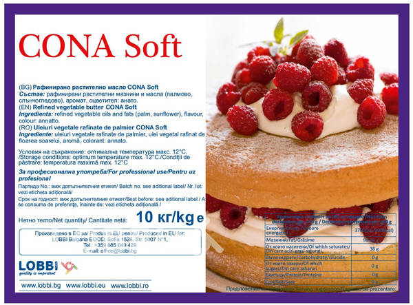 CONA Soft 99.99% Fat blend of vegetable palm fats and sunflower