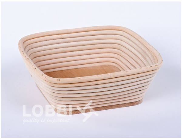 Wooden rattan form for rising bread with a wooden bottom - squa
