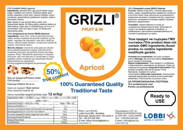 GRIZLI FRUIT&fill 50% Apricot filling