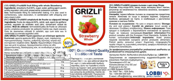 GRIZLI FRUIT&fill 60% Whole Strawberry fruit filling with whole